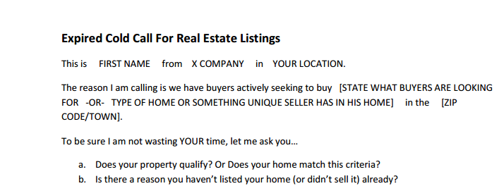 Cold Call Script for Expired Listings